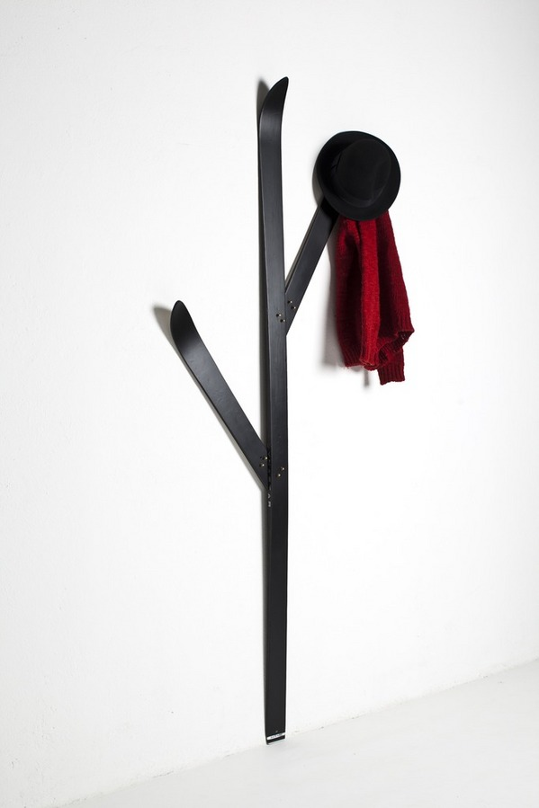 Coat rack designed by recycled skis