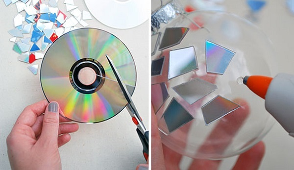 Ornaments with old CD pieces