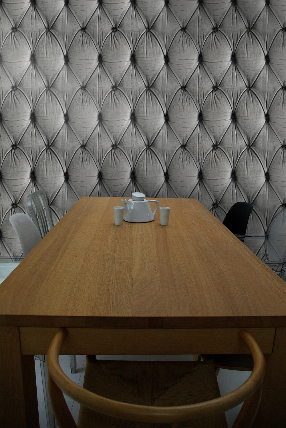 Leather self-adhesive wallpaper in living room