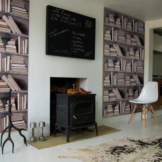 Library self-adhesive wallpaper in living room