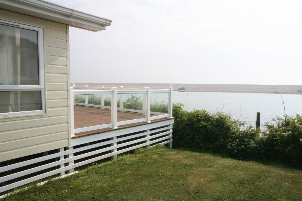 The view from one of the luxury lodges at Chesil Holiday Park, near Weymouth in Dorset. This park has a leisure centre, bar and restaurant which holiday home owners can use