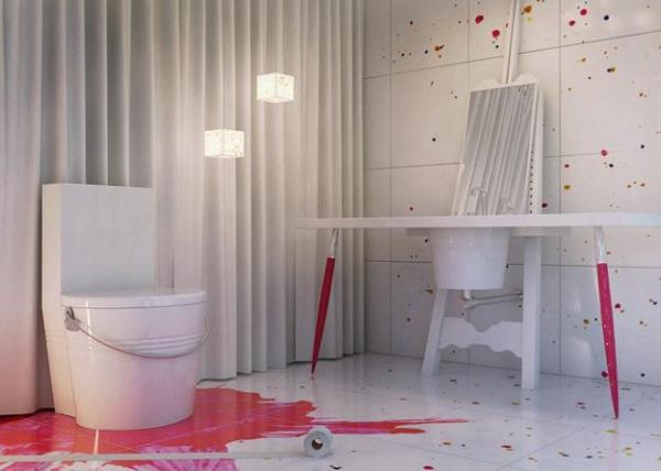 Colorful splashes deco, bathroom