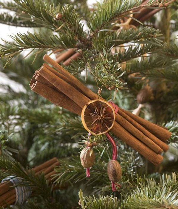 Ornaments with cinnamon sticks and dried citrus